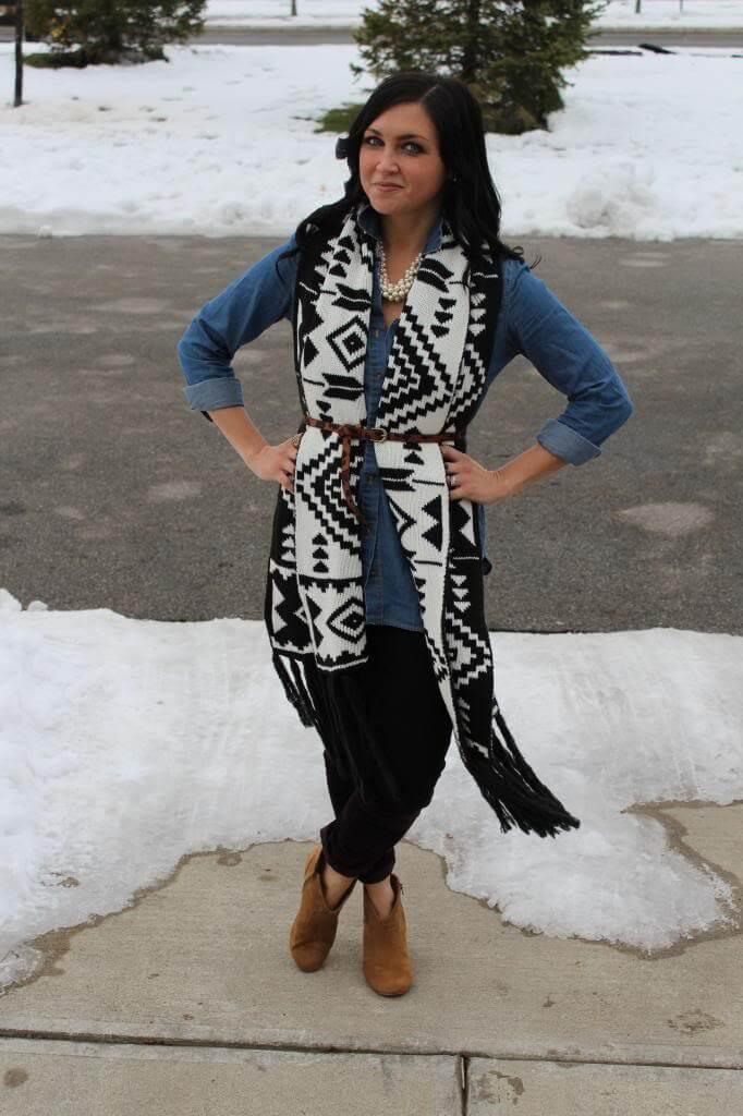 fair isle scarf, chambray, leopard skinny belt
