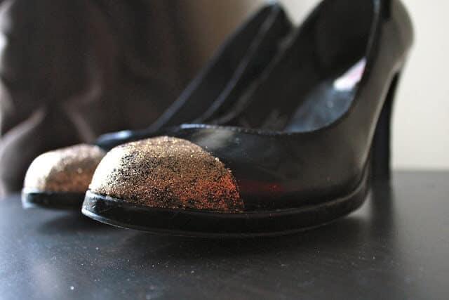 Glitter toe shoes, glitter toe heels