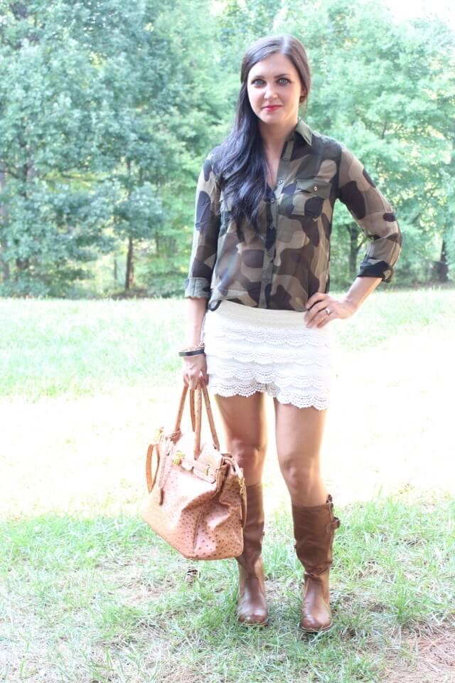 Crochet shorts, Camo shirt, Tall boots.