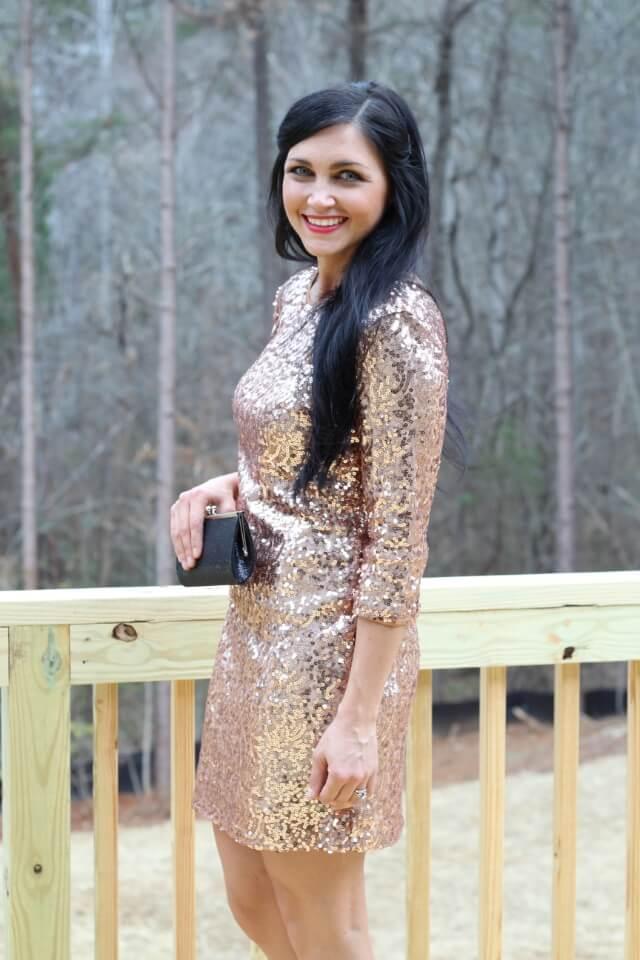 gold glitter dress, sequin dress