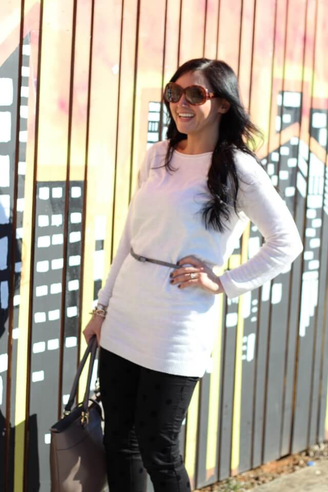 Stilettos and Diapers: Black pants, white sweater