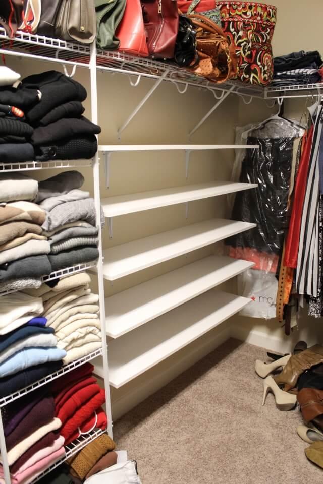 Shoe shelves, diy