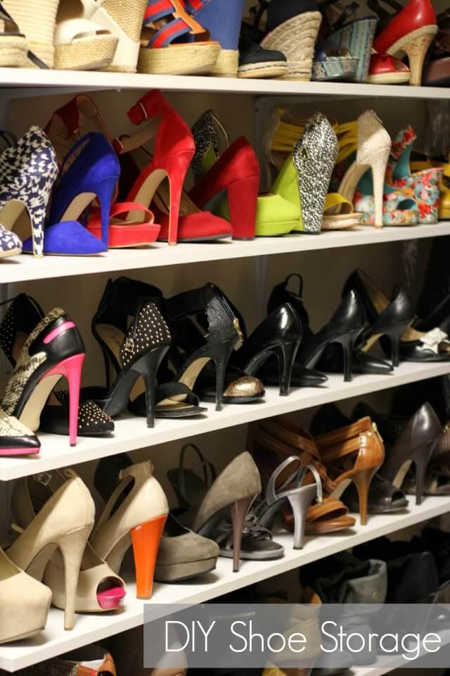 Shoe Organization, Shoe shelves, DIY