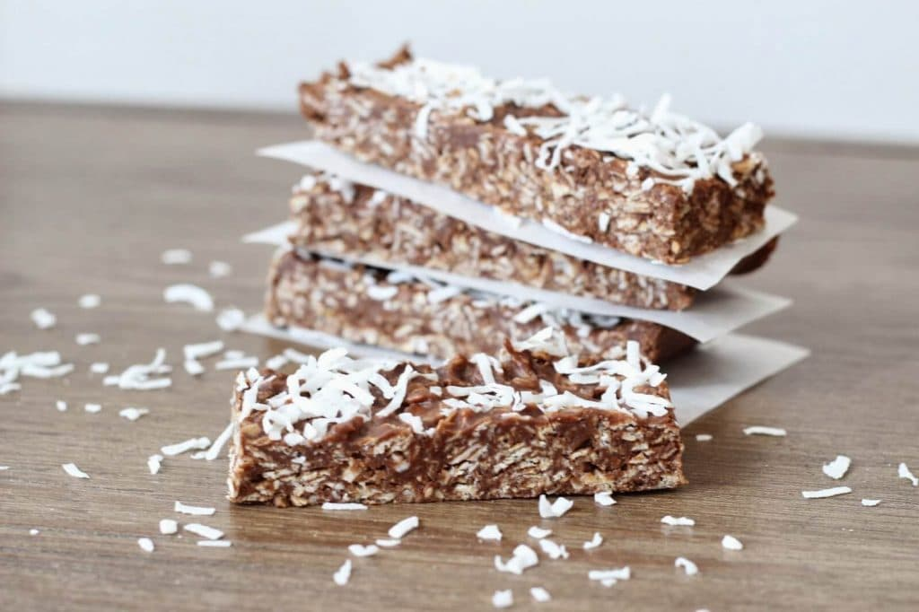 Clean eating Samoa Bars: Coconut, oatmeal, chocolate bars.
