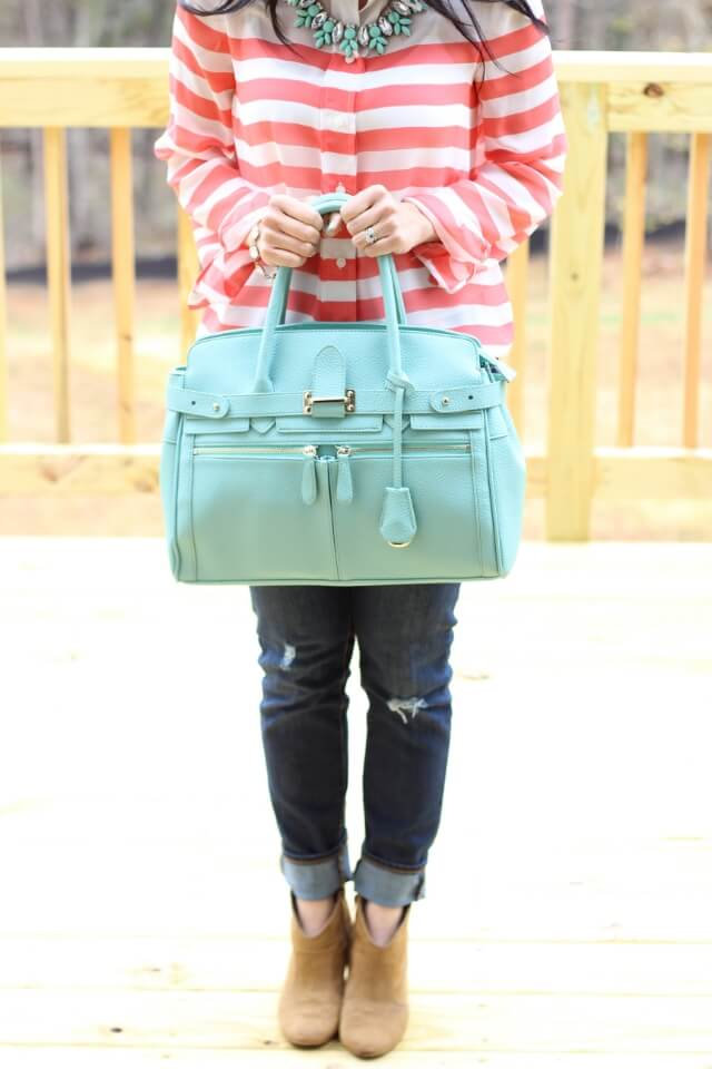 Coral Stripes and Mint Tote