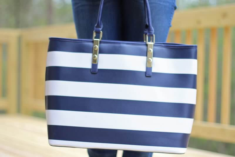 Stilettos and Diapers: JustFab Striped Tote