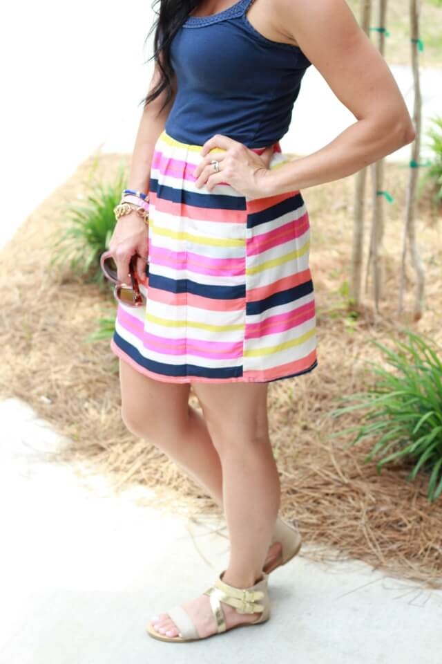 Stilettos and Diapers: Casual Striped Skirt and Flats