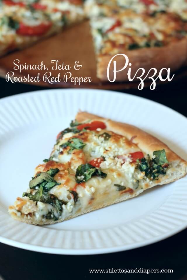 Spinach, Feta and Roasted Red Pepper Pizza via Stilettos and Diapers