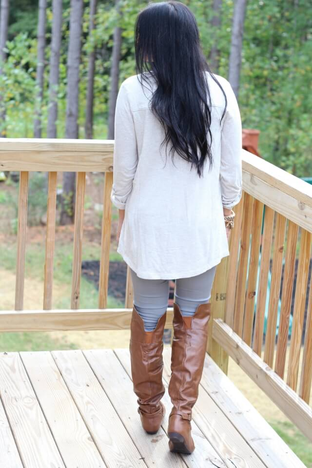 Stilettos and Diapers: Over the knee boots, grey skinnies