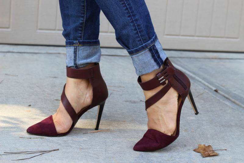 JustFab Burgundy Heels: Stilettos and Diapers
