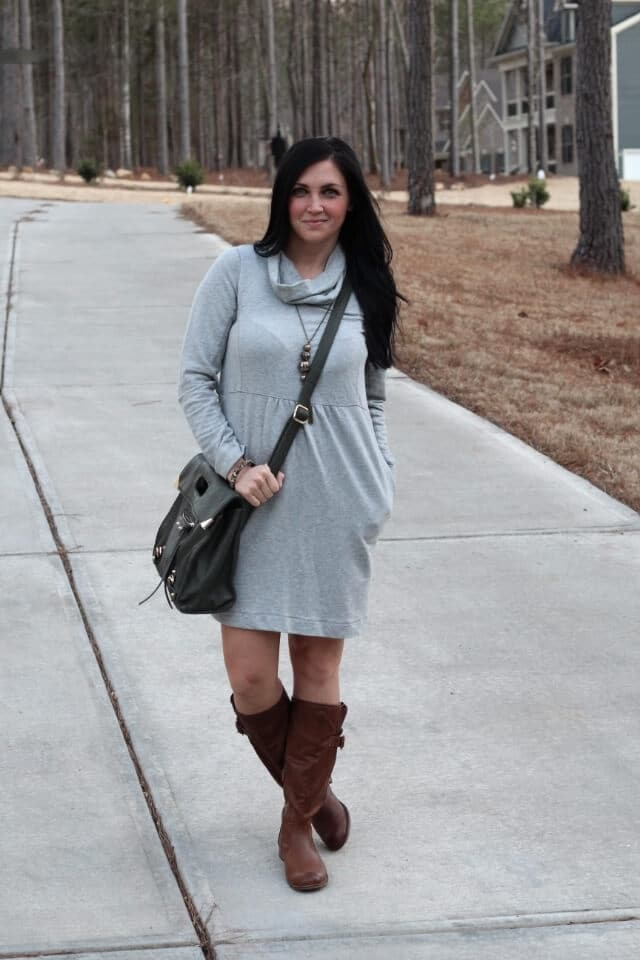 Dress and boots for winter via Stilettos and Diapers