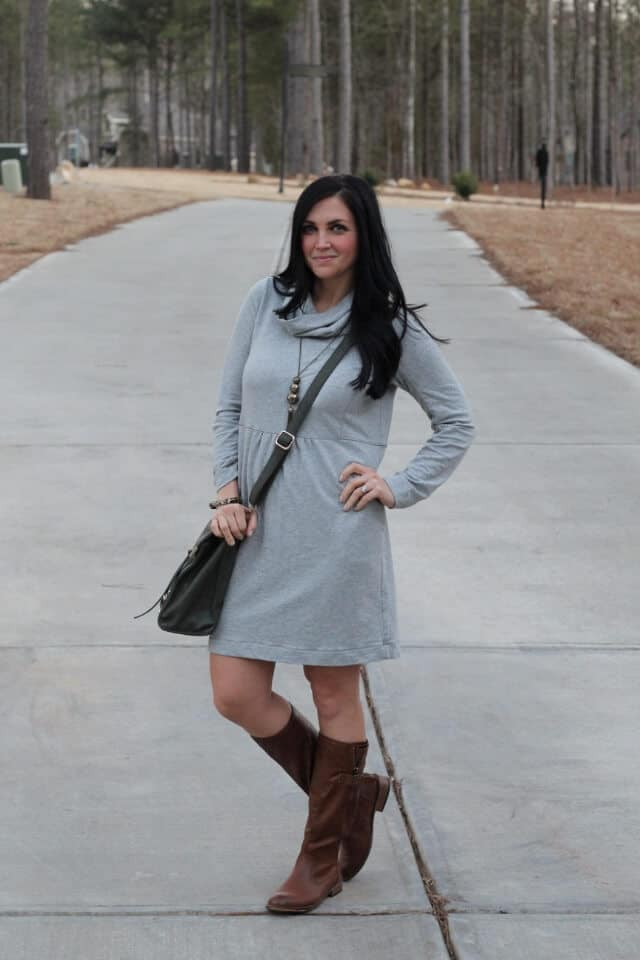 J. Jill dress and boots for winter via Stilettos and Diapers