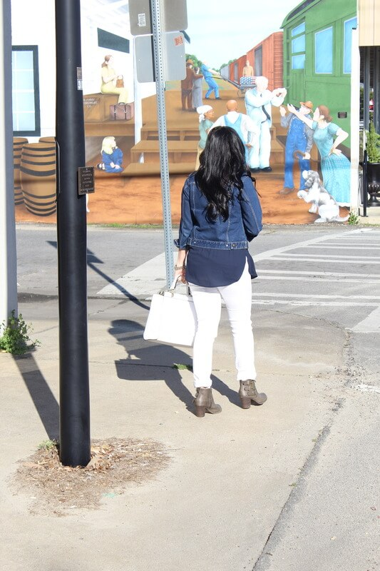White Skinnies, Taupe Booties, Denim Jacket: Stilettos and Diapers