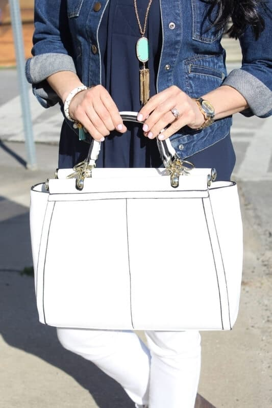 White Skinnies, Taupe Booties, Denim Jacket: Stilettos and Diapers. Merrick JustFab Bag