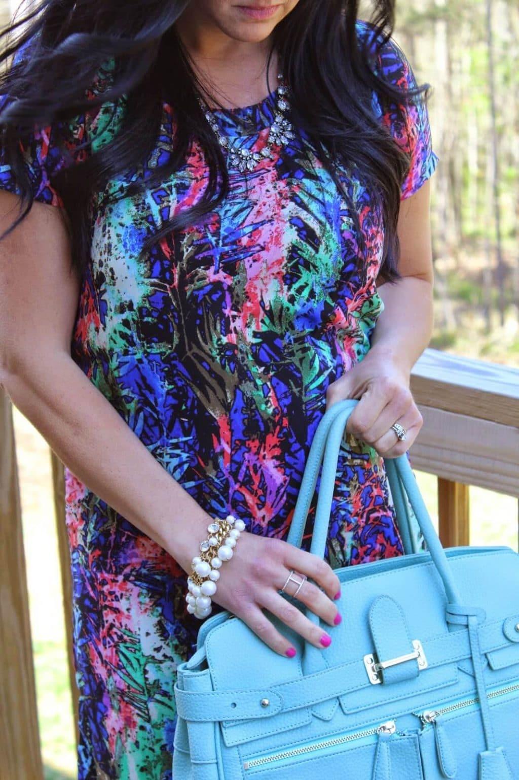 Multi color Easter Dress, 17 weeks pregnant.