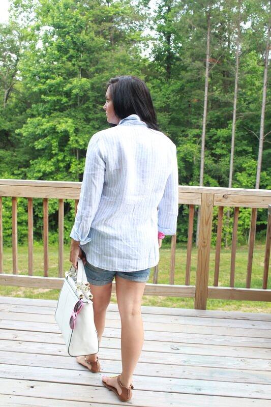Boyfriend denim shorts, linen shirt, neon pops: Stilettos and Diapers