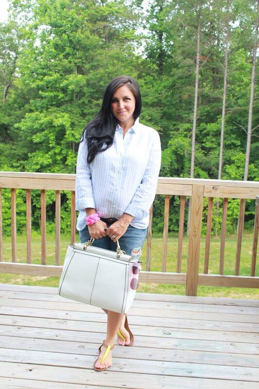 Boyfriend denim shorts, J. Jill linen shirt, pink frame aviator: Stilettos and Diapers