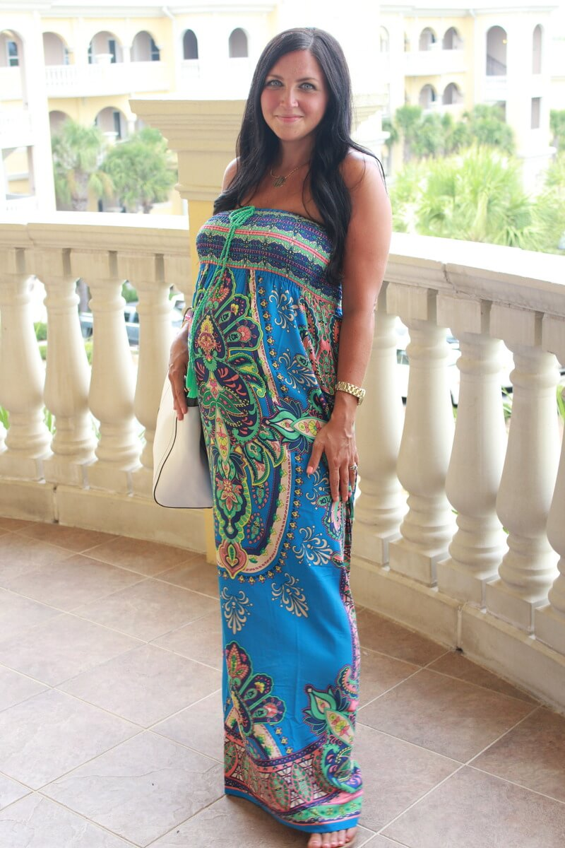 Printed Maxi Dress, 29 weeks pregnant