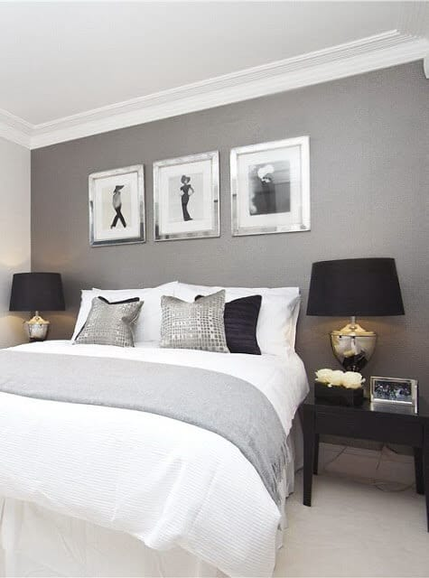 White, Black and grey master bedroom