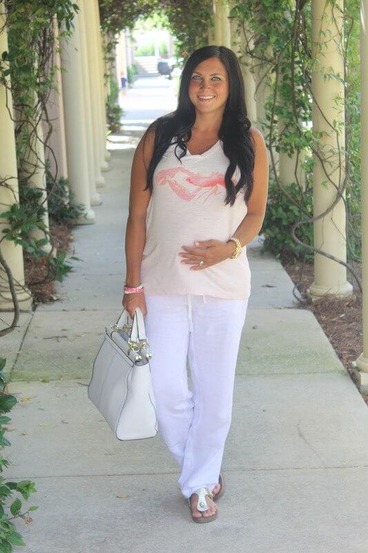31 Weeks Pregnant, J Jill Linen Pants, Lobster Tank