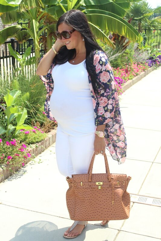 White and Floral Maternity Style