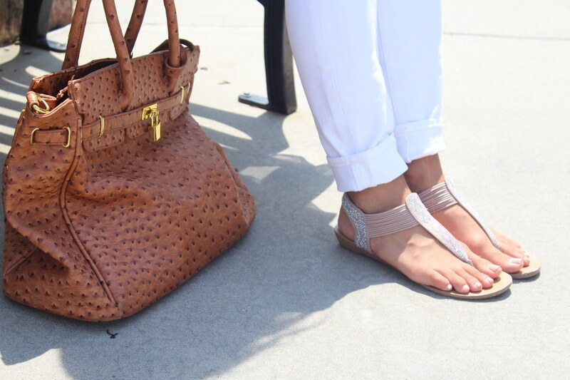 White Skinnies, nude sandals