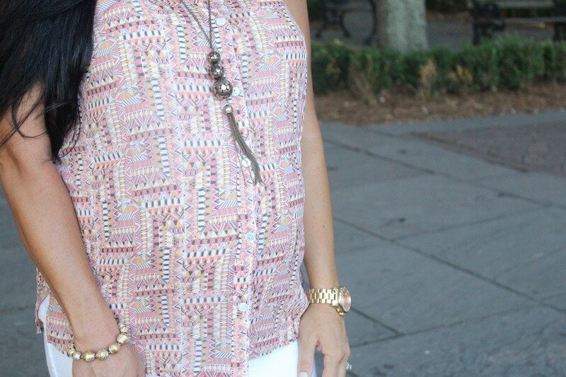 Aztec button down top