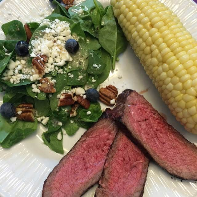 Spinach Salad, Corn, London Broil