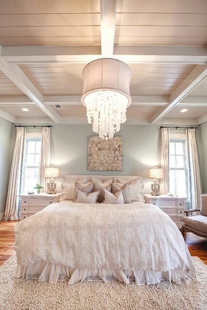 White Neutral Room Beadboard Ceiling