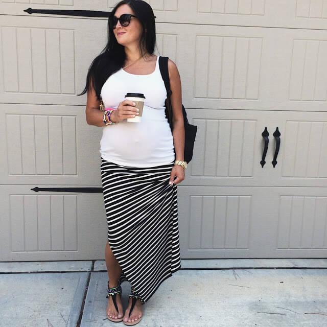 Stripe Maxi skirt, maternity style