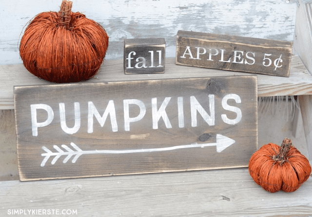 DIY wooden fall signs