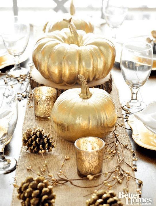 gold pumpkin fall centerpiece