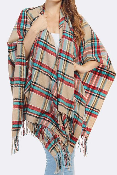 Plaid Blanket Scarf Poncho