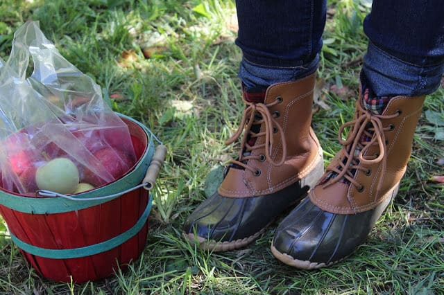 Duck boots with plaid, mixed media, rack room shoes