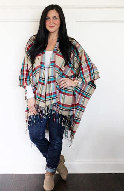 Plaid blanket scarf poncho, molly suzanne