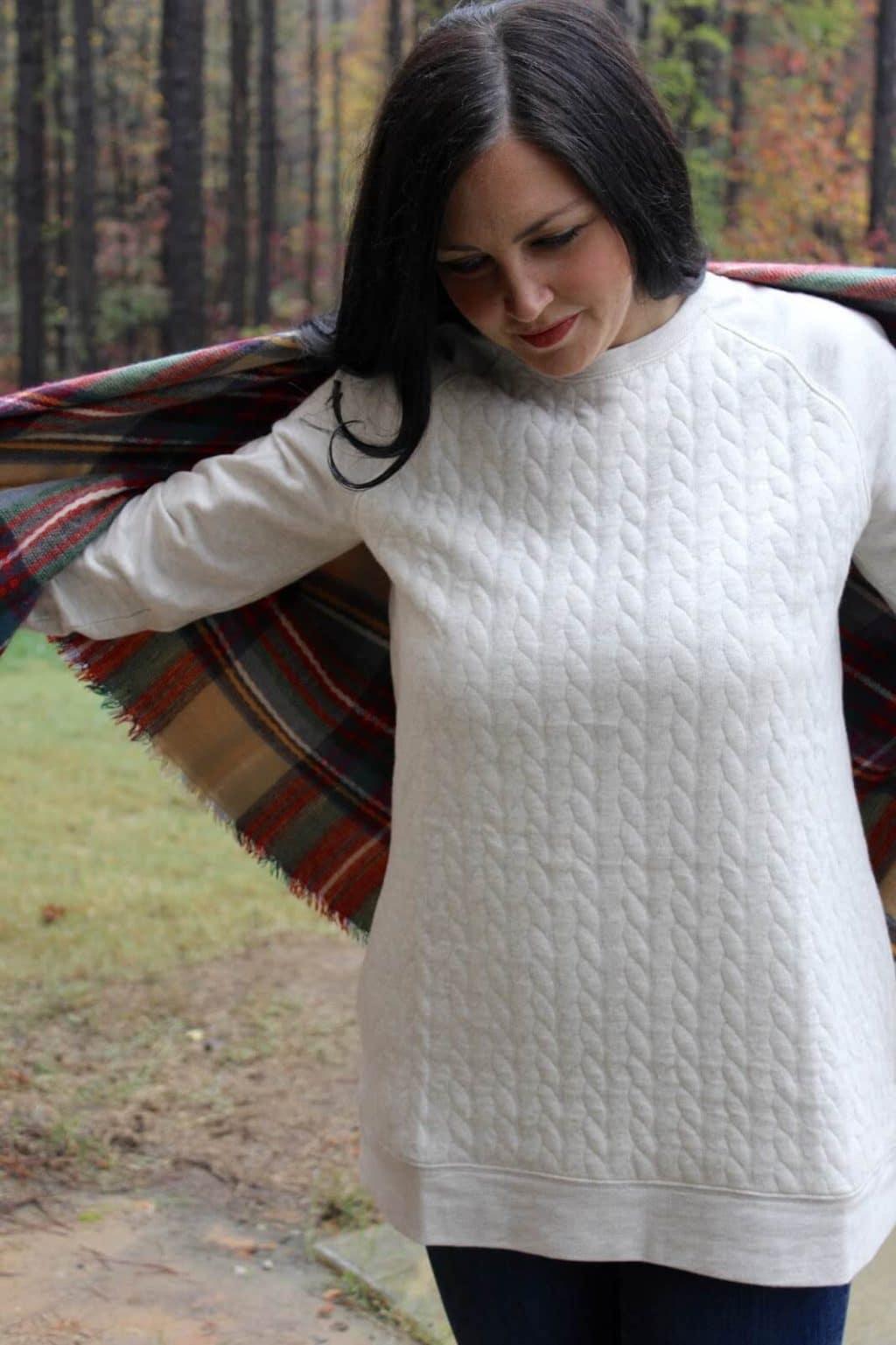 Quilted sweatshirt, plaid blanket scarf