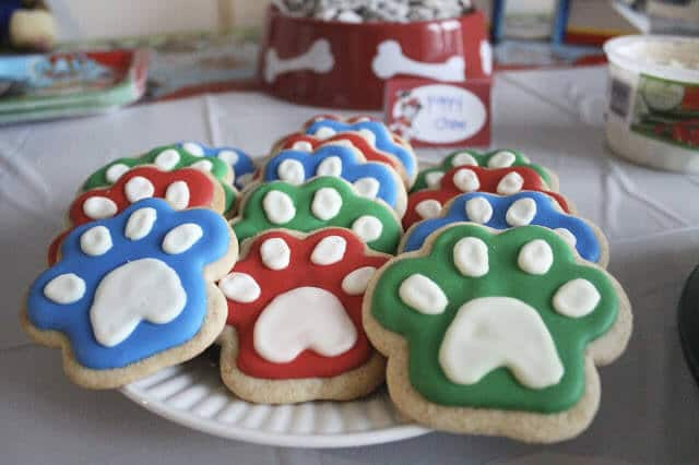 Paw Patrol Birthday Party paw and bone cookies