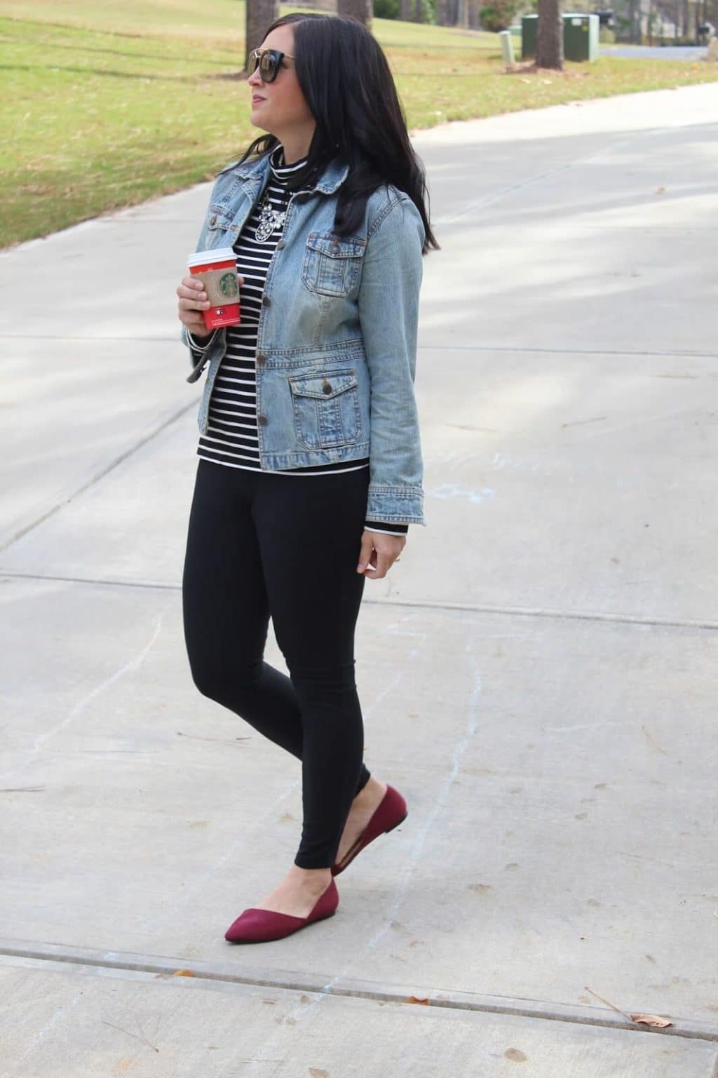 Prada Sunglasses, Statement necklace, Striped turtleneck, denim jacket