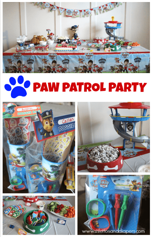Paw Patrol Birthday Party with food, tablescape, goodie bag ideas and free printables.