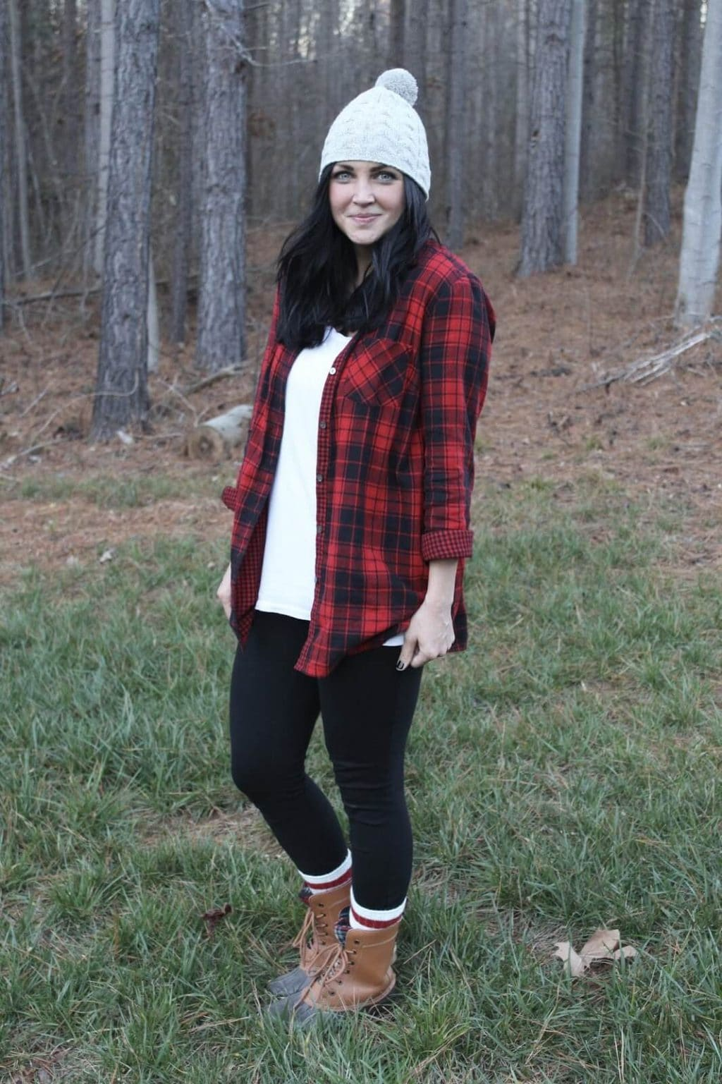 plaid shirt, leggings, duck boots, beanie