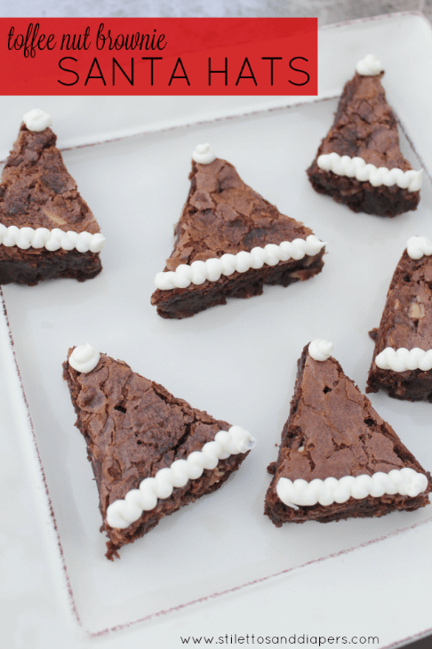 Stilettos and Diapers: Toffee Nut Santa Hat Brownies