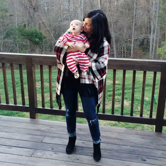 Stilettos and Diapers: Plaid Poncho, Distressed Denim