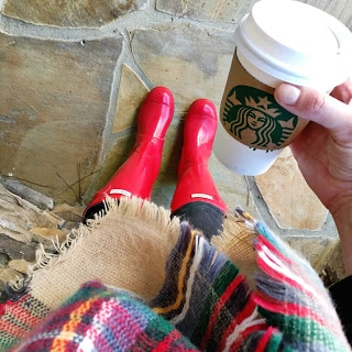 Stilettos and Diapers: Red Hunter boots, plaid blanket scarf