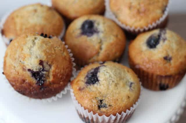 Healthy blueberry muffins with greek yogurt and honey.