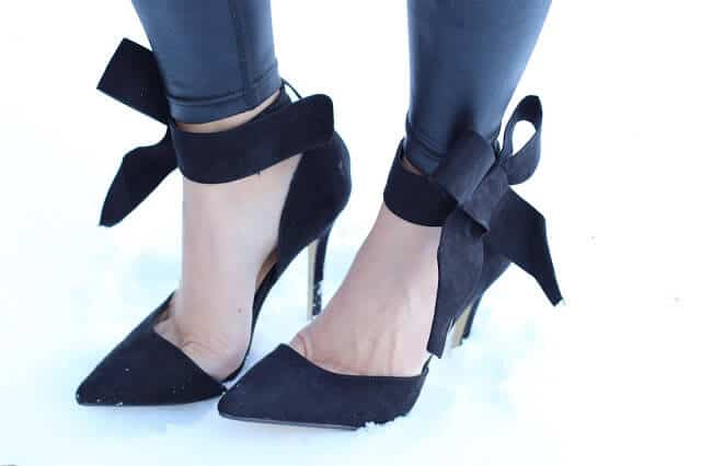 black suede ankle bow heels