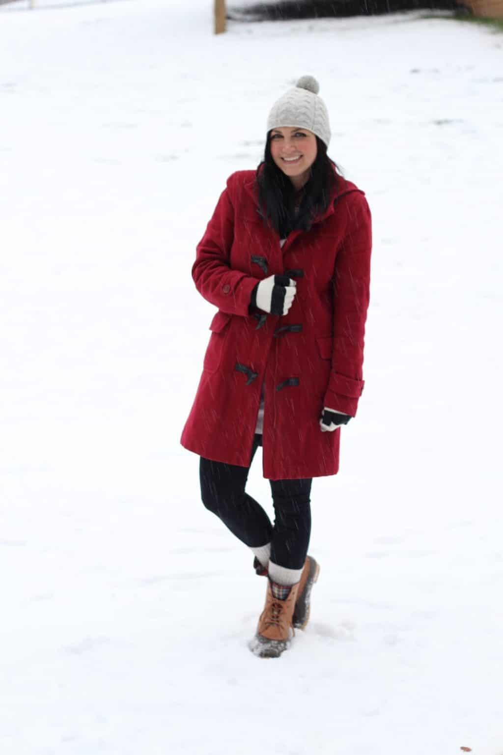 Red Toggle Coat, Duck Boots