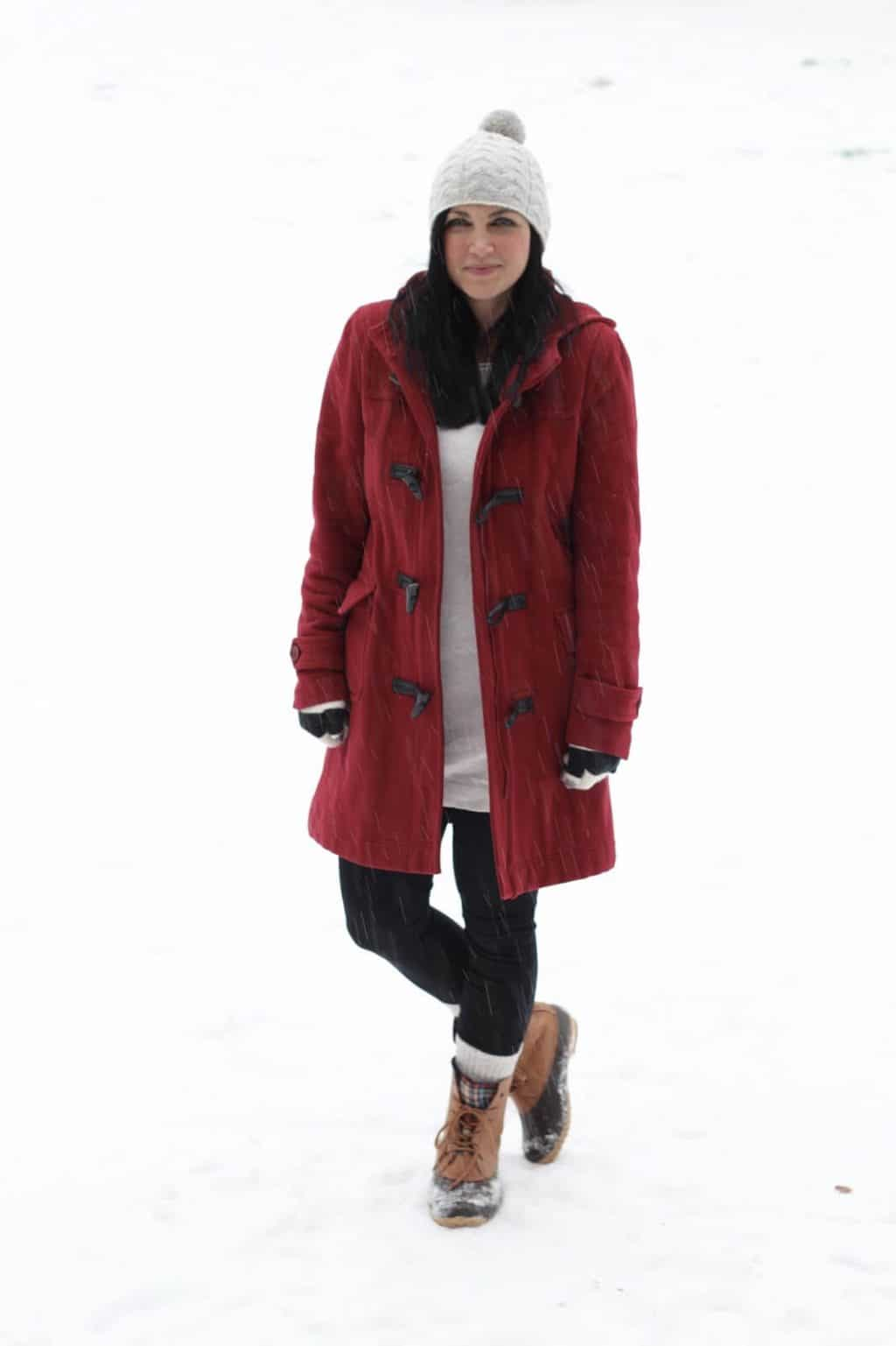Red Winter Coat, Leggings, Snow Boots