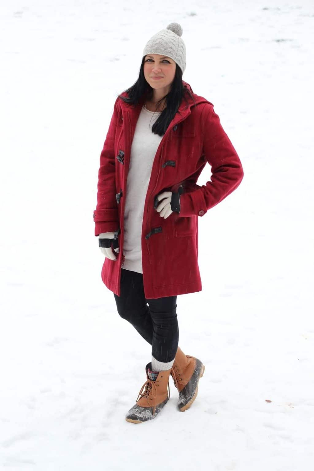 Snow, Red Coat, Lands End Snow Boots,