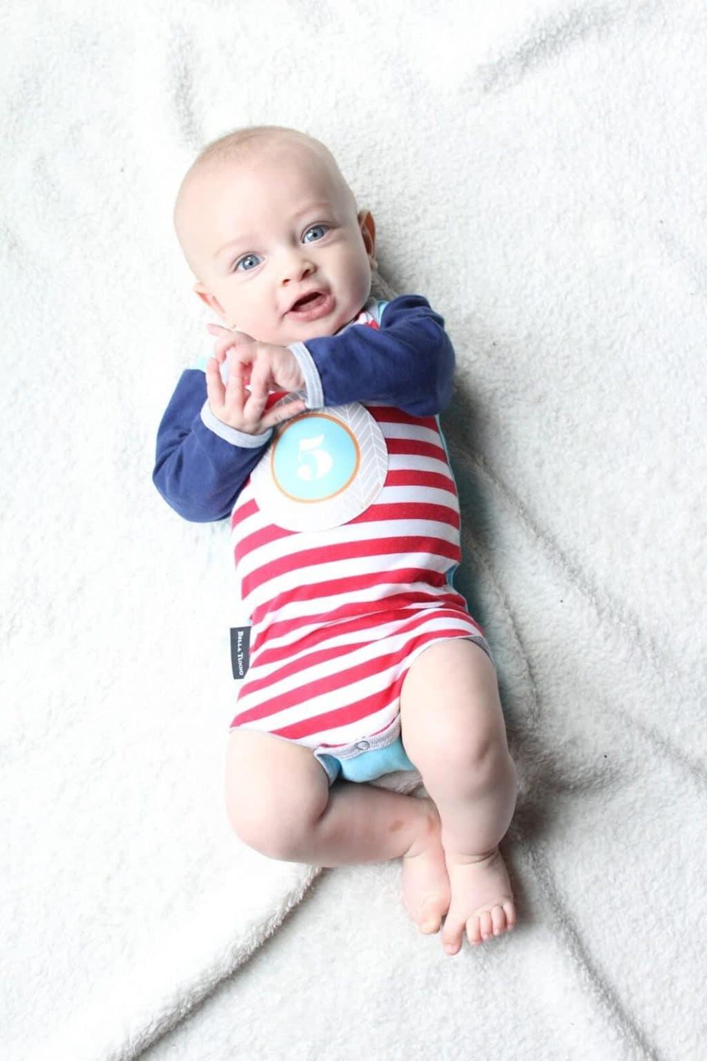 5 Month Baby Update with sticker onesie