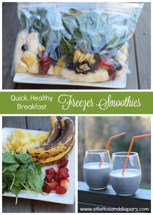 Make ahead freezer smoothies and protein shakes. A quick, healthy breakfast!